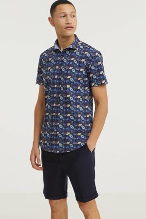 slim fit overhemd met all over print donkerblauw/zalm/lichtblauw