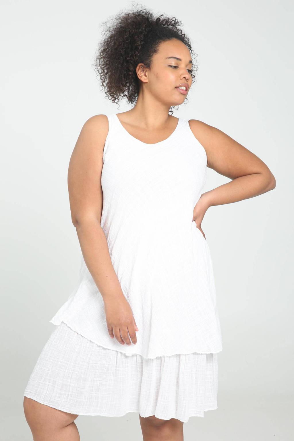 Paprika A-lijn jurk met volant wit, Wit
