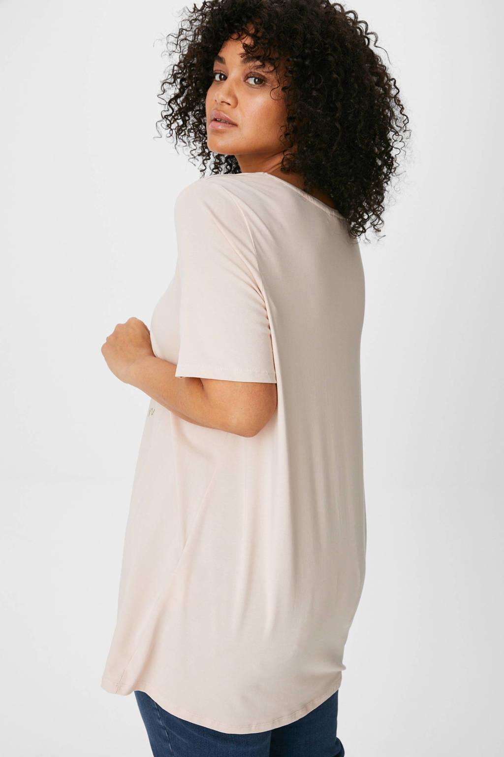 C&A XL Yessica T-shirt met biologisch katoen lichtroze, Lichtroze