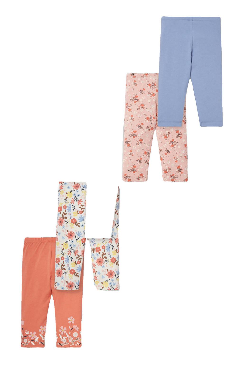 C&A Happy girls Club legging - set van 5 multi, Ecru/terra/roze/blauw
