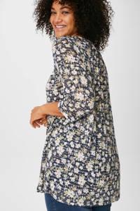 C&A XL Yessica gebloemde tuniek donkerblauw, Donkerblauw