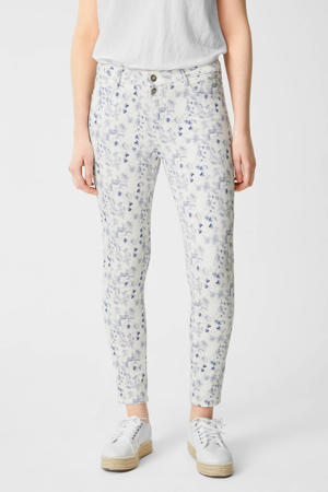 slim fit broek met all over print ecru