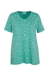 C&A XL Yessica gebloemd T-shirt met biologisch katoen turquoise, Turquoise