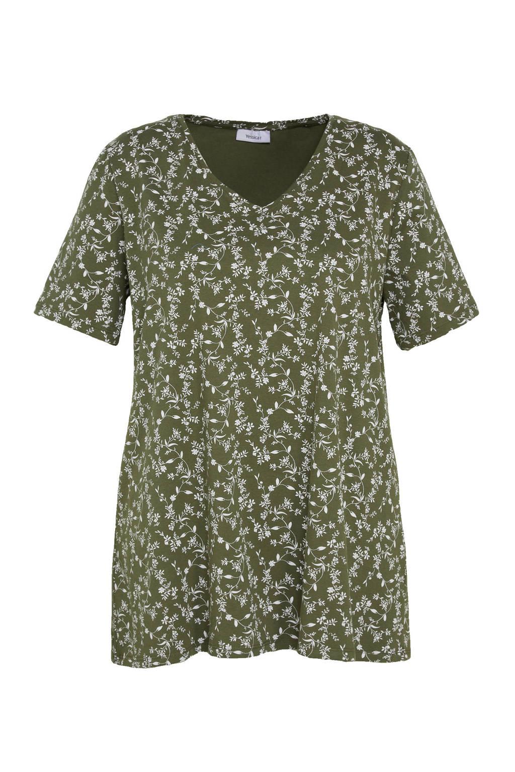 C&A XL Yessica gebloemd T-shirt met biologisch katoen kaki, Kaki