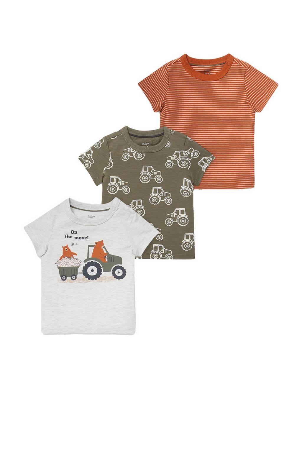 C&A Baby Club T-shirt - set van 3 ecru/groen/oranje, Ecru/groen/oranje