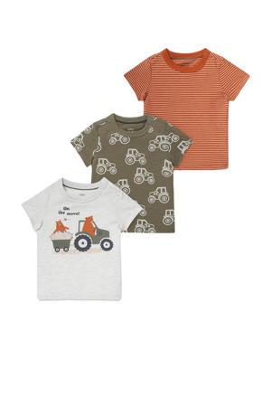 T-shirt - set van 3 ecru/groen/oranje
