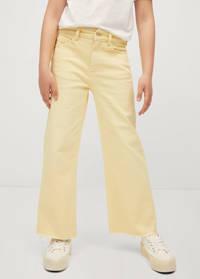 Mango Kids high waist broek geel, Geel