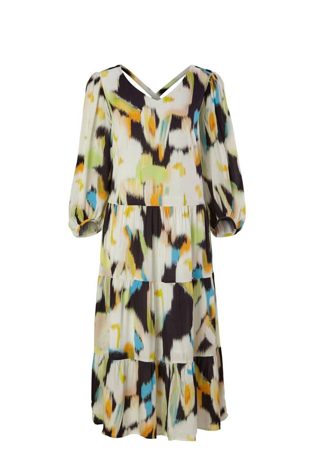 comma trapeze jurk met all over print en plooien beige/groen/oranje, Beige/groen/oranje