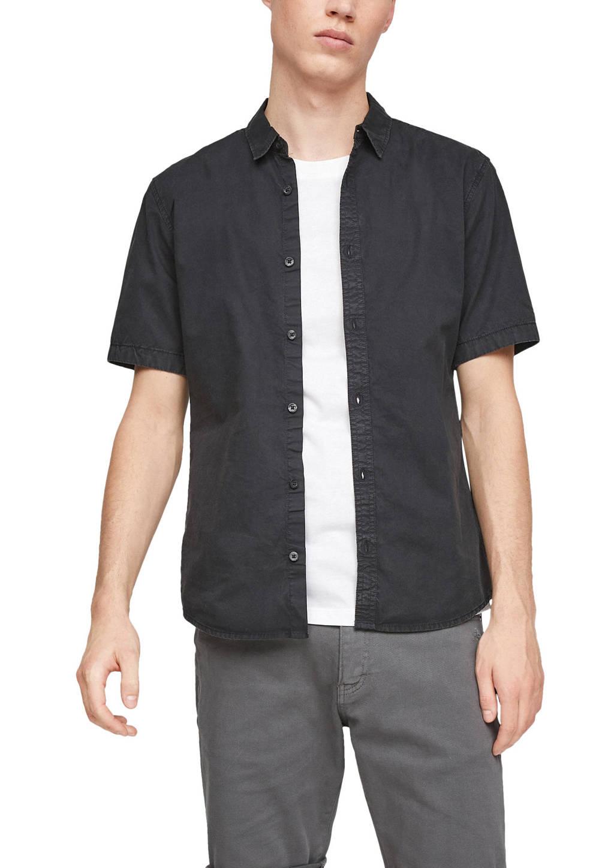 Q/S designed by slim fit overhemd zwart, Zwart