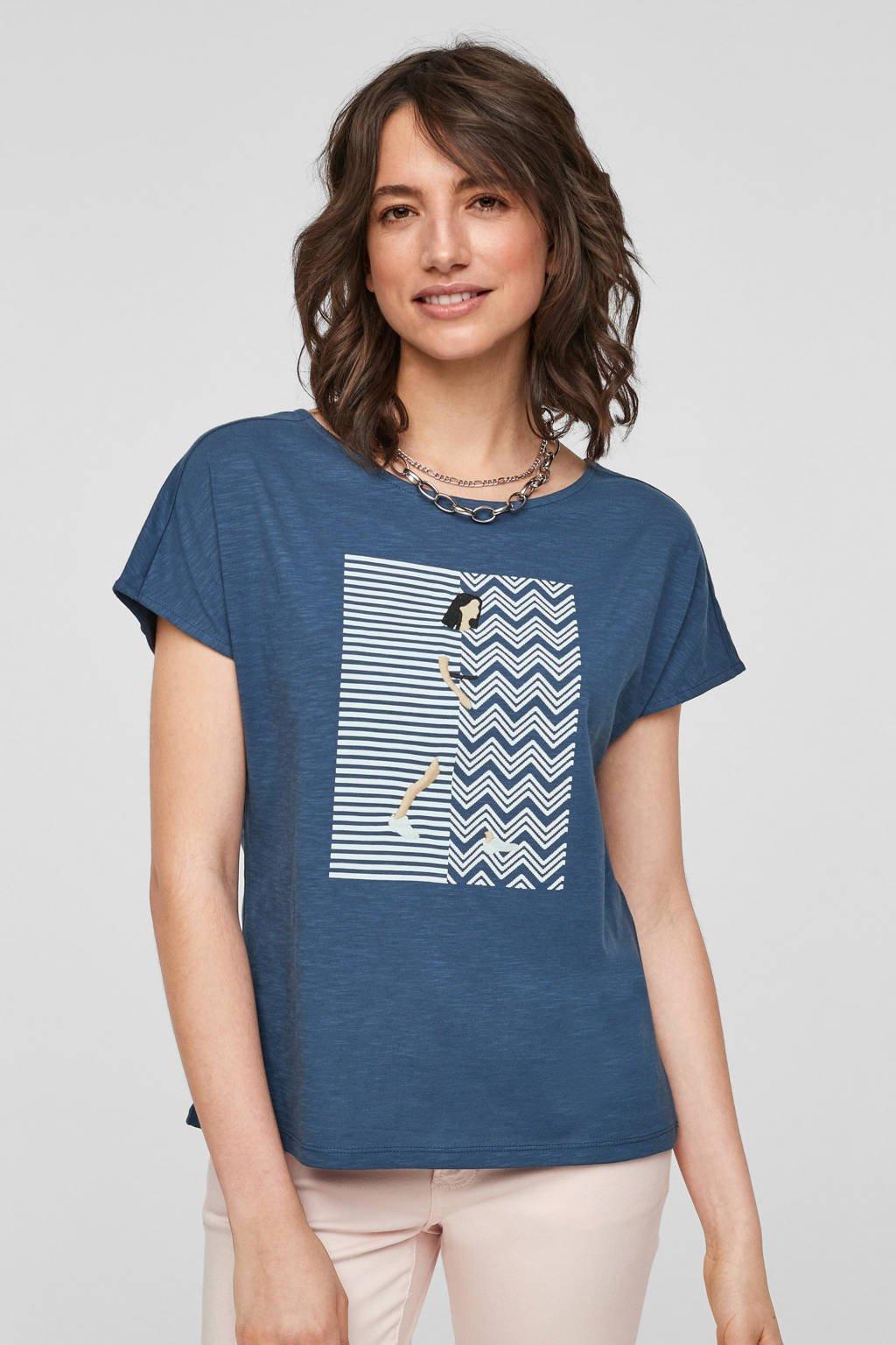 s.Oliver T-shirt met printopdruk blauw, Blauw