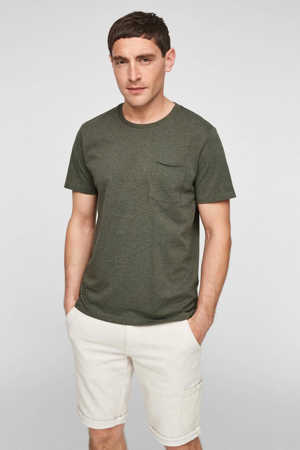 s.Oliver gemêleerd T-shirt donkergroen, Donkergroen