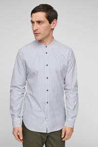s.Oliver BLACK LABEL gestreept slim fit overhemd blauw, Blauw