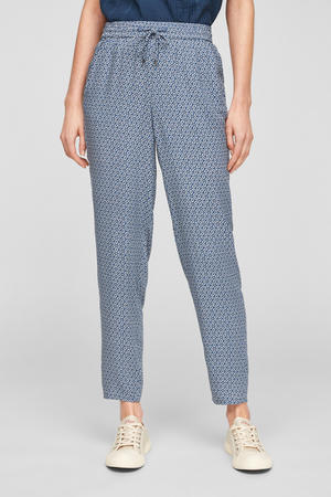 slim fit chino met all over print donkerblauw/wit