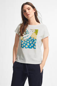 comma T-shirt met printopdruk wit/blauw/beige, Wit/blauw/beige