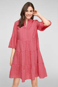 s.Oliver A-lijn jurk met all over print rood, Rood