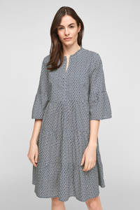 s.Oliver A-lijn jurk met all over print donkerblauw, Donkerblauw