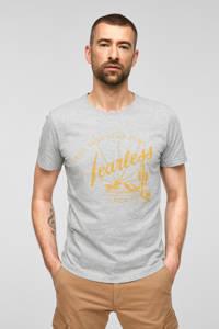 s.Oliver T-shirt met printopdruk grijs melange, Grijs melange