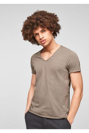 slim fit T-shirt bruin