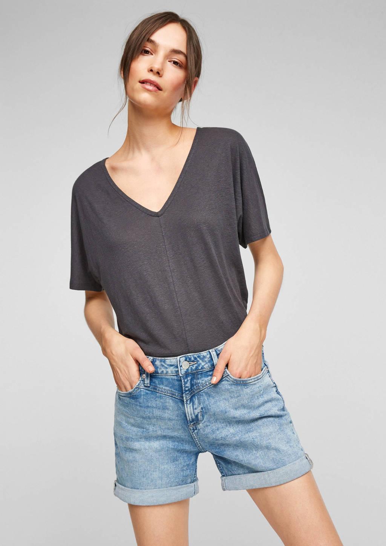 Q/S designed by high waist regular fit jeans short lichtblauw, Lichtblauw