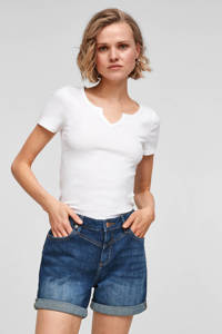 Q/S designed by high waist regular fit jeans short blauw, Blauw