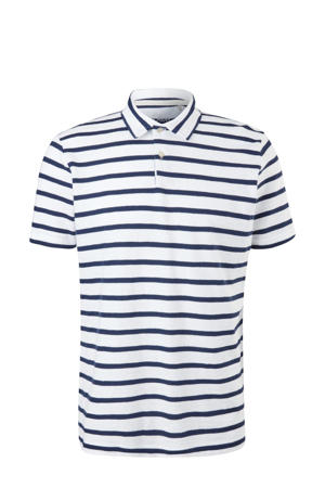 gestreepte regular fit polo wit/blauw