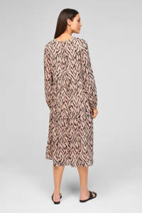 s.Oliver BLACK LABEL trapeze jurk met all over print beige, Beige