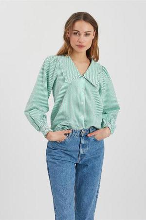 gestreepte geweven blouse Safrina lichtgroen