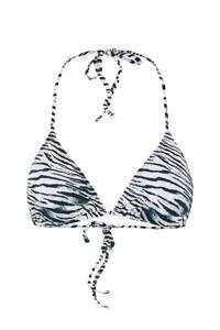 PIECES triangel bikinitop Gaomi met zebraprint zwart/wit, Zwart/wit
