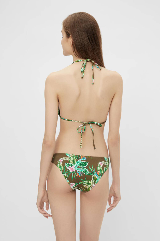 PIECES gebloemde triangel bikinitop Gaomi olijfgroen, Olijfgroen
