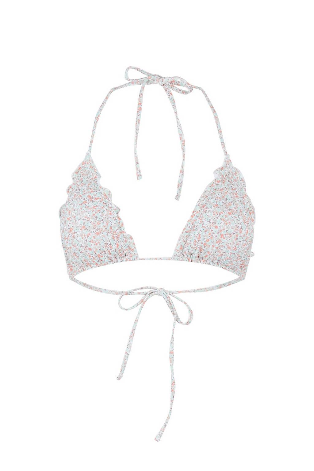 PIECES gebloemde triangel bikinitop Gaby lichtblauw, Lichtblauw