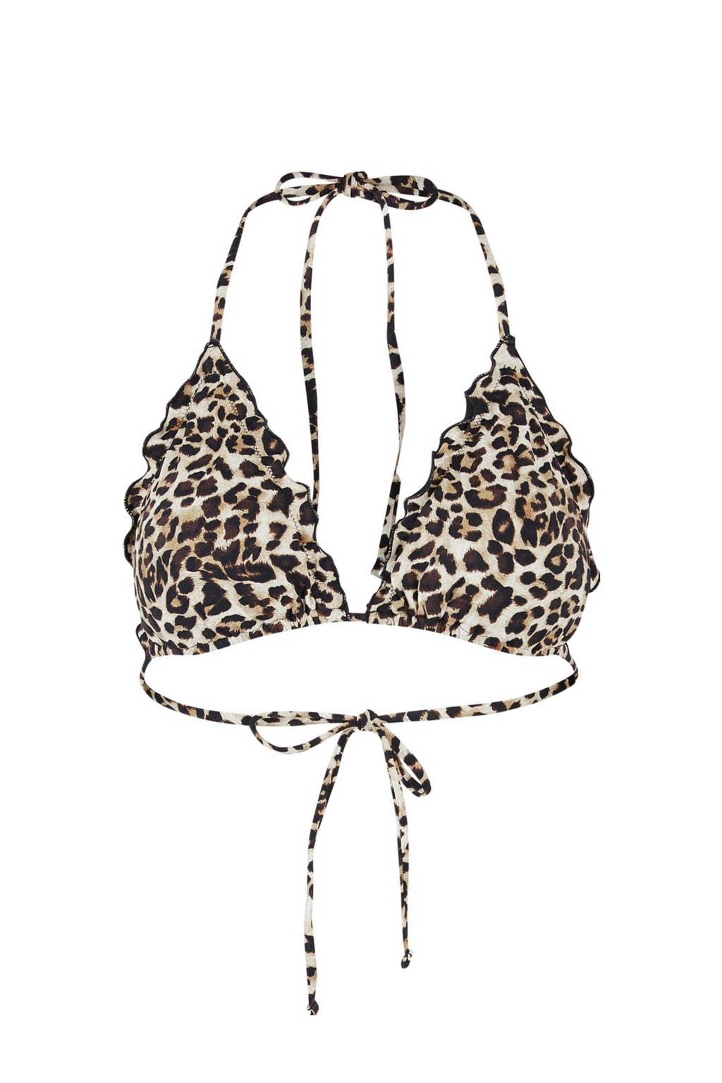PIECES triangel bikinitop Gaby met panterprint bruin/beige, Bruin/beige