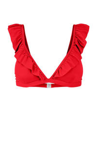 PIECES bikinitop Gwen met ruches rood, Rood