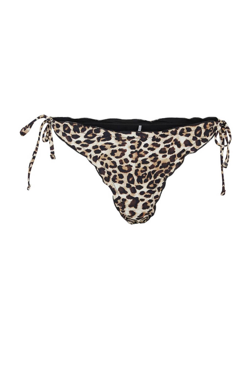 PIECES strik bikinibroekje Gaby met panterprint bruin/beieg, Bruin/beuge