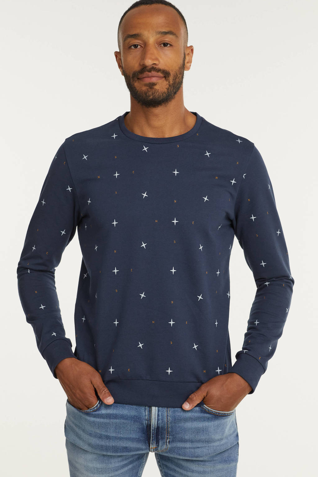 Cars sweater TIAGO met all over print donkerblauw, Donkerblauw