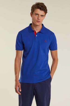 shirt met contrastbies college blue