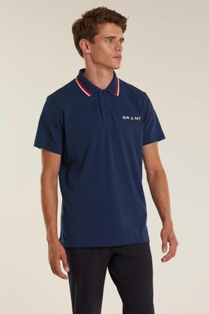 regular fit T-shirt met contrastbies classic blue