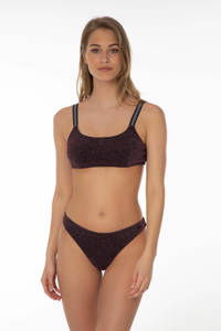 Protest crop bikini Opole met lurex zwart/roze, True black