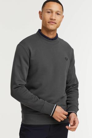 sweater met contrastbies gunmetal