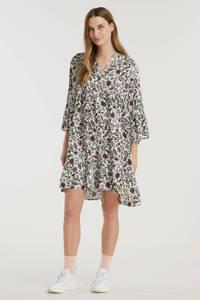 Est'seven trapeze jurk Alice met all over print wit/groen, Wit/groen