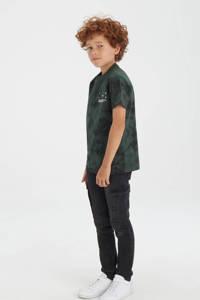 Shoeby Jill & Mitch T-shirt met tie-dye donkergroen/zwart, Donkergroen/zwart