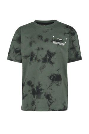 T-shirt met tie-dye donkergroen/zwart