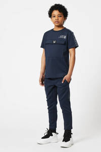 CoolCat Junior slim fit joggingbroek Cedric met tekst donkerblauw, Donkerblauw
