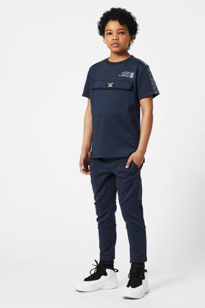 slim fit joggingbroek Cedric met tekst donkerblauw