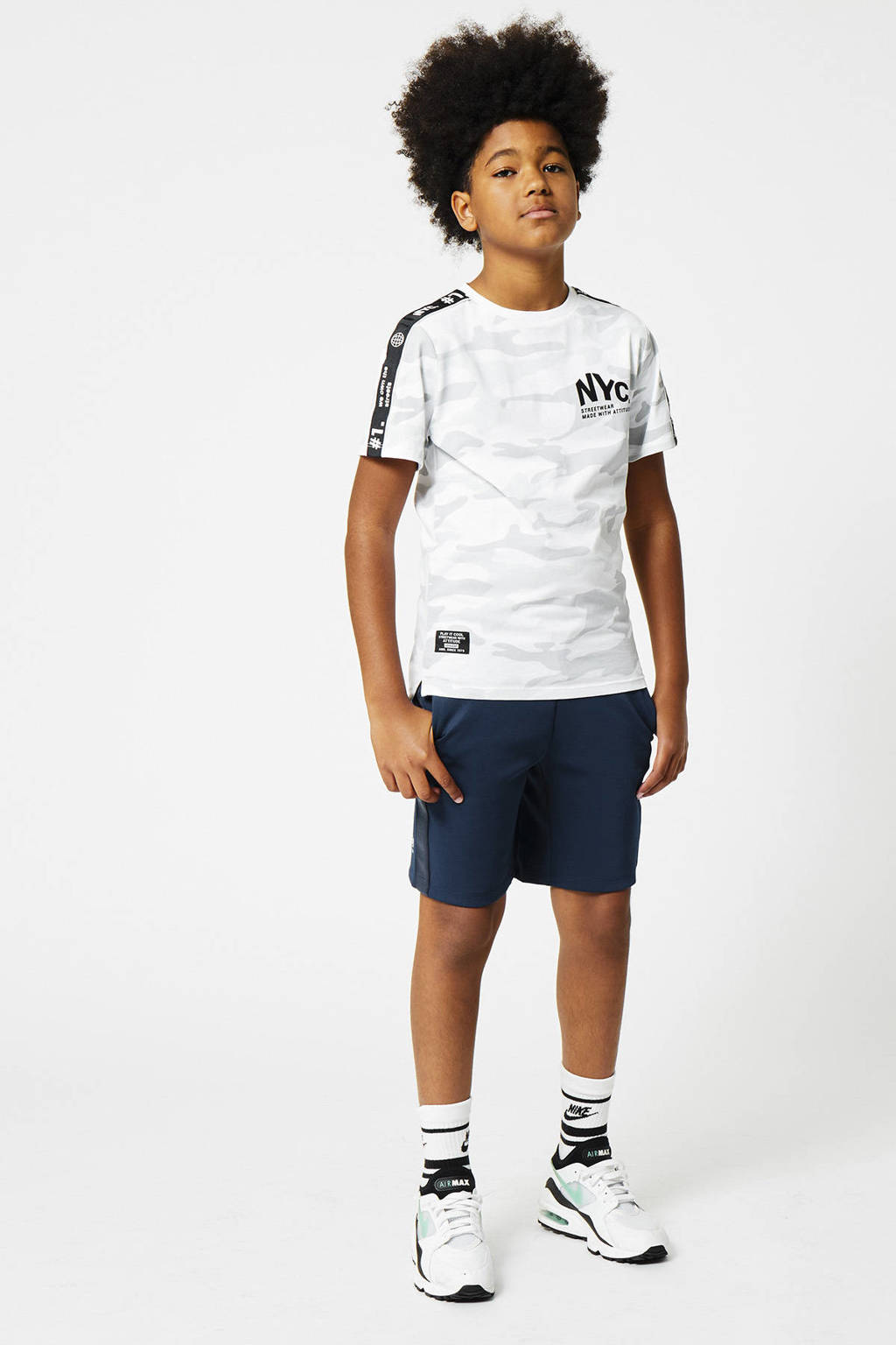 CoolCat Junior regular fit sweatshort Nelson donkerblauw, Donkerblauw
