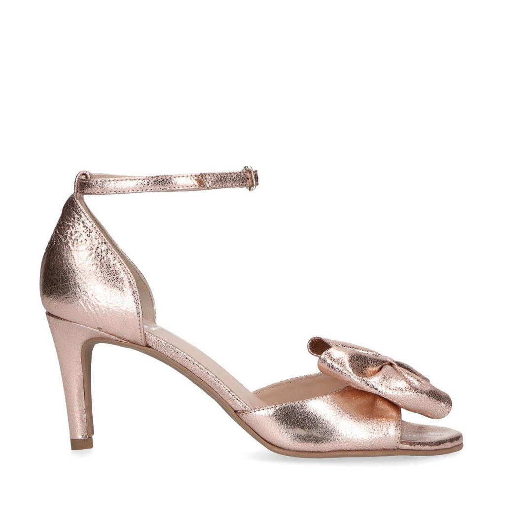 Mrs Keizer by Manfield   leren sandalettes met strik roze, Roze/metallic