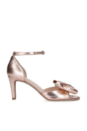 leren sandalettes met strik roze