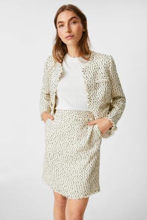 mini rok met textuur ecru/zwart