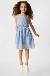C&A Here & There gestreepte jurk lichtblauw, Lichtblauw