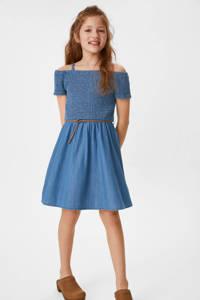 C&A Here & There off shoulder spijkerjurk met ceintuur blauw, Blauw
