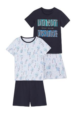shortama - set van 2 donkerblauw/wit